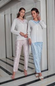 Jar Pierre Bayan Kadife Pijama Takımı- Mavi