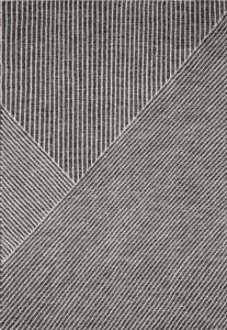Markaev Modern Siyah Beyaz Çizgili Kaymaz Taban Kilim-012