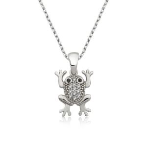 Gümüş Kurbağa Bayan Kolye