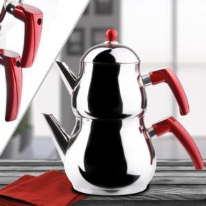 Hürsultan Çelik Kapaklı Kırmızı Tombik Orta Boy Çaydanlık Takımı