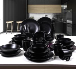 Keramika Alfa Mat Siyah Yemek Takımı 30 Parça 6 Kişilik
