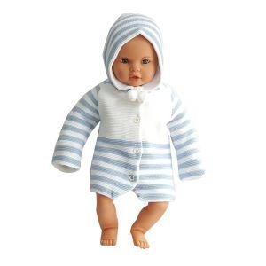 Mavi Çizgili Triko Bebek Hırka