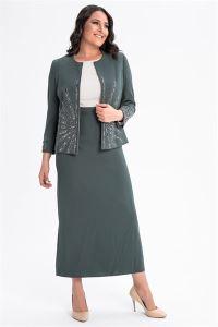 Önü Kolları Taşlı Büyük Beden Elbise Ceket Takım Haki