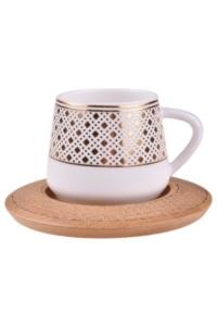 Bambum Hanzade 6 Kişilik Kahve Takımı Desen Altlıklı B0933