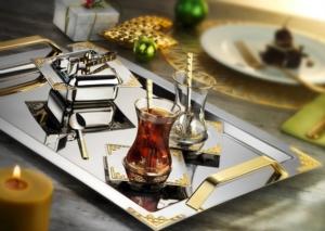 İslamoğlu Hürrem Çay Tepsisi Gold