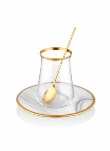 Çay Kaşığı 6 Parça - 13 Cm Parlak Gold