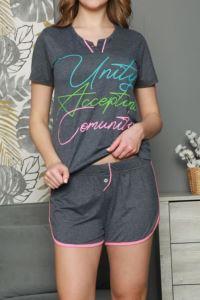 Nicoletta Füme Kadın Şortlu Pijama Takımı Kısa Kollu Pamuk
