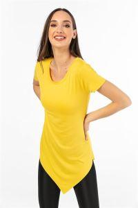 Eteği Asimetrik Likra T-Shirt Sarı
