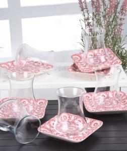 Keramika İknat Pembe Çay Takımı 12 Parça 6 Kişilik- 17947