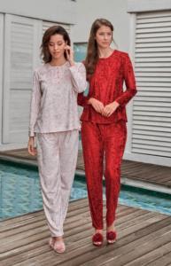 Jar Pierre Bayan Kadife Pijama Takımı- Kırmızı