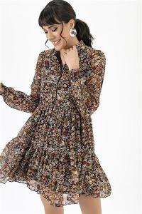 Yakalı Çiçek Desen Elbise Kahve