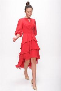 Tül Detaylı Balon Kol Beli Kuşaklı Katlı Şifon Elbise Kırmızı