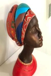 Dekoratif Afrikalı Kadın Biblo 22x16 cm Kırmızı