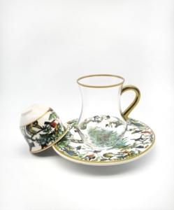 Özcam Kristal 18 Parça Tabak Desenli Çay Takımı D-1334