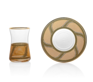 Özlife 12 Parça Enza Sarı Lux Çay Seti- 923