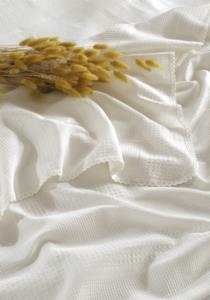 Gökyüzü Elegant Çift Kişilik Beyaz Dantelli Pike