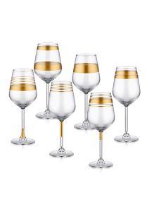 Lines Şarap Kadehi 6 Lı Set - Gold