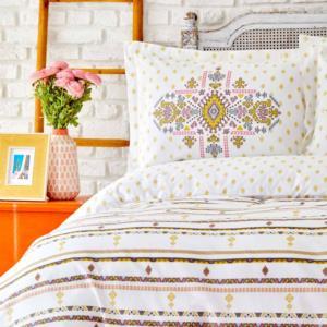 Karaca Home Sarah Anderson Prienne Sarı Çift Kişilik Nevresim Yastık Set