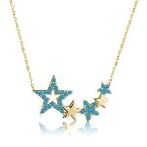 Gümüş Mavi Yıldızlar Bayan Kolye