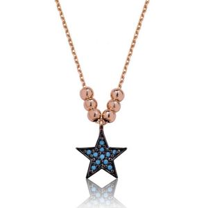 Gümüş Mavi Yıldız Bayan Kolye