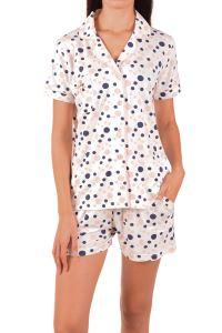 Nicoletta Kadın Şortlu Pijama Takımı Kısa Kollu Düğmeli Cepli Puantiyeli Pamuk