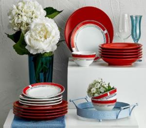 Keramika 6 Kişilik 24 Parça File Kırmızı  Yemek Takımı