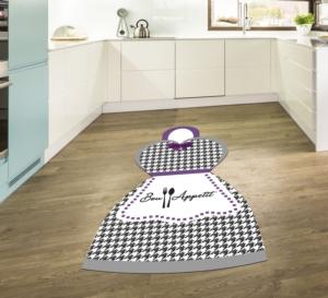 Gosse Saçaksız Mutfak Halısı Bon Appetit Grey & Purple 100X140cm