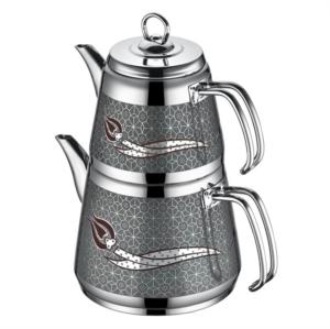 İnter Mini Boy Hanzade Gri Dekorlu Çaydanlık Takımı