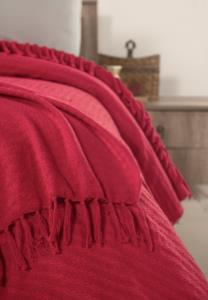 Evim Home %100 Pamuk İplik Boya Pike Yatak Örtüsü Nord Kırmızı