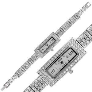 Gümüş Dikdörtgen Zirkon Taşlı Bayan Saat