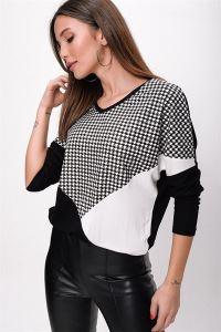 Kazayağı Desen Çift Renkli Çilek Bluz Siyah