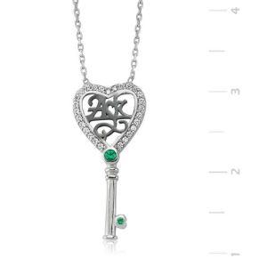 Gümüş Aşk Yazılı Anahtar Bayan Kolye