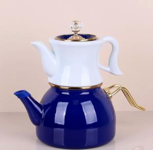 Bastonlu Züccaciye Lacivert Vintage Çaydanlık