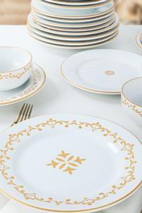 Keramika Riva Beyaz Gold Yemek Takımı 24 Parça 6 Kişilik