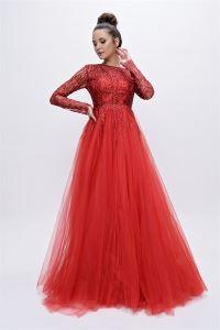 Pul İşlemeli Tüllü Uzun Abiye Elbise Kırmızı