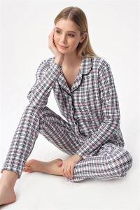 Ekoseli Düğmeli Pijama Takım Ekru