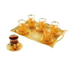 Sena Hanedan Dikdörtgen 6'lı Çay Seti 124-K 18