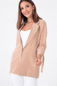 Kolu Bağcıklı Double Kumaş Likralı Ceket Bej