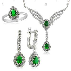Gümüş Yeşil Taşlı Kanat Bayan Set  ST1630002