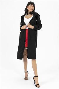 Kapşonlu Uzun Cup Tunik Siyah