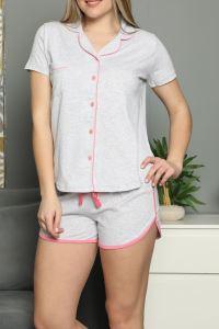 Kadın Şortlu Pijama Takımı Kısa Kollu Düğmeli Cepli Pamuk
