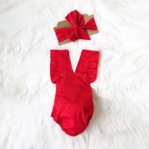 Bandanalı Fırfırlı Kırmızı Çıtçıtlı Elbise