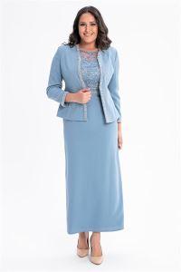 Elbise Ceket Büyük Beden Krep Takım Mavi