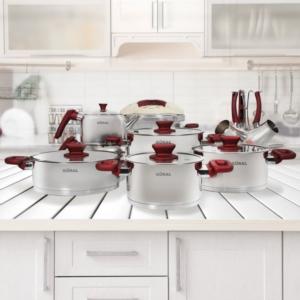 Güral Porselen 18 Parça Çelik Tencere Seti Kırmızı
