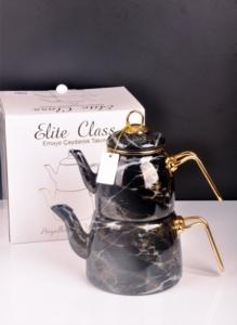 Bayev Elite Class Emaye Çaydanlık Desenli -Siyah2 -200582
