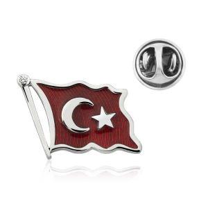 Gümüş Türk Bayrağı Rozet