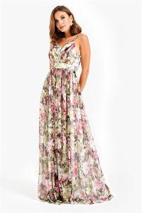 İp Askılı Çiçek Desenli Tül Uzun Abiye Elbise Ekru
