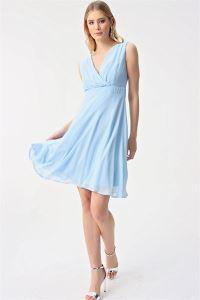 Kruvaze Şifon Abiye Elbise Bebe Mavi