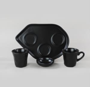 Keramika Moka İkram Seti Mat Siyah 8 Parça 2 Kişilik