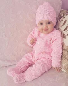 Pembe , Bereli Triko Kız Bebek Tulumu
